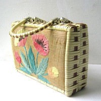 Vintage basket purse. floral hand purse.