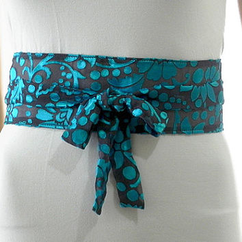 Blue Sash Belt Obi Waist Cincher - Gray Sash Belt Obi Velvet Texture Obi Belt Waist Cincher - Sashes for Weddings Evening Formal Party
