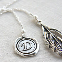 Monogram Pendant, Initial Personalized Bookmark, Custom Stamped Bookmark Alphabet Wax Seal, Feather Charm White Pearl Sterling Silver Chain