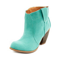 SUEDED LOW-HEEL WESTERN BOOTIE