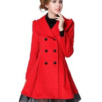 Match Womens Double Breasted Lace Hem Turndown Collar Trench Coats #WLTC-009 (Label size L ( US Small ), Red)