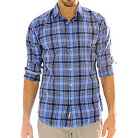 191 Unlimited Men's Blue Plaid Cotton/Polyester Shirt