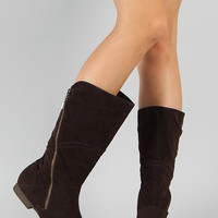 Meley-4 Suede Zipper Round Toe Mid Calf Boot