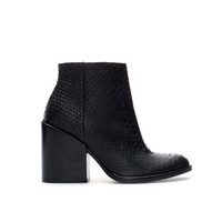 EMBOSSED LEATHER HIGH HEEL ANKLE BOOT