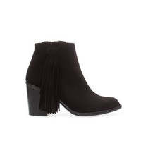 HIGH HEEL LEATHER ANKLE BOOT WITH FRINGES