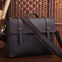 "Vintage Handmade Antique Crazy Horse Leather Briefcase Messenger 14"" Laptop / 15"" MacBook Bag(z04)"