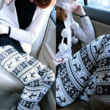 SODIAL(TM) Fashion Women's Soft Knitted Warm Stretchy Snowflake Pattern Leggings Tights Pants