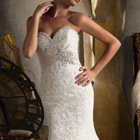 Embroidered Appliques on Net by Bridal by Mori Lee