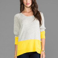 Michael Stars Scoop Neck Pullover in Pewter & Bright Yellow