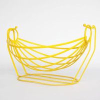 Retro yellow wire basket, 1960 MOD wire decor, vintage metal wire fruit bowl, yellow kitchen decor, wire bread basket, Eames era wire bowl