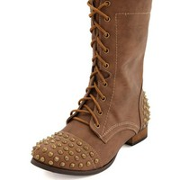 SPIKED LACE-UP COMBAT BOOT