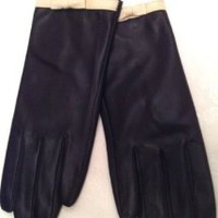 RALPH LAUREN WOMENS BLACK LEATHER GLOVES IVORY TRIM AND BOW SZ LARGE