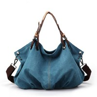 Leisure Street-chic Blue Canvas Handbag Shoulder Bag