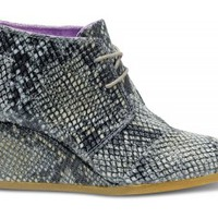 TOMS+ Grey Serpentine Women's Desert Wedges