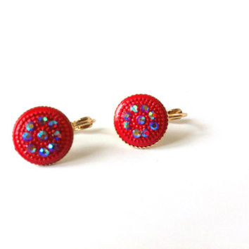 Red Earrings, Rhinestones, Round