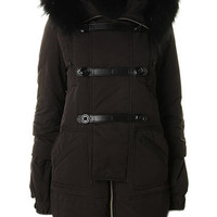 ROMWE | ROMWE Buttoned Faux Fur Collar Black Down Coat, The Latest Street Fashion