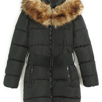 ROMWE | ROMWE Belted Faux Fur Collar Black Down Coat, The Latest Street Fashion