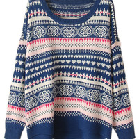 ROMWE | ROMWE Asymmetric Ethnic Knit Blue Jumper, The Latest Street Fashion