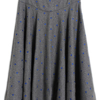 ROMWE | ROMWE Polka Dots Embroidered Bowknot Pleated Grey Skirt, The Latest Street Fashion