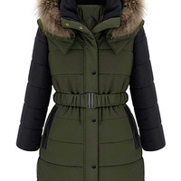 ROMWE | ROMWE Faux Fur Hooded Belted Color Block Down Coat, The Latest Street Fashion