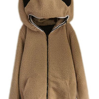 ROMWE | Panda Shaped Hooded Zippered Elastic Coffee Coat, The Latest Street Fashion