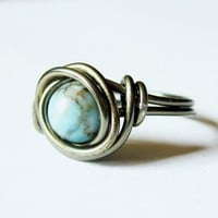 Turquoise And Gunmetal Ring Custom Size | Luulla