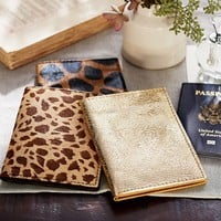 PONY HAIR & GOLD LEATHER PASSPORT WALLET