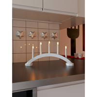 Konstsmide 5 Light Large Welcome Light Candle Bridge in White - Konstsmide from Castlegate Lights UK