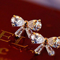 Glittering Rhinestone Bow Earrings