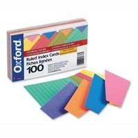 Index Cards,Ruled, 4x6, 100/PK, Assorted