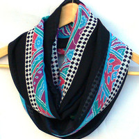 Circle Scarf. Multicolor Infinity Scarf. Loop Scarf. Women Accessories. Aztec Scarf