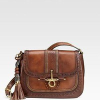 Gucci - Snaffle Bit Medium Flap Leather Shoulder Bag - Saks.com