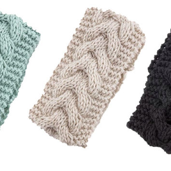 Braided Ear Warmer - Black, Ivory or Mint | .H.C.B.