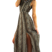 Leopard Print Open Back Maxi Dress - Leopard/Multi | .H.C.B.