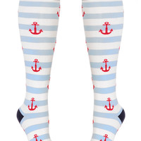 Off to Sea Striped Anchor Socks