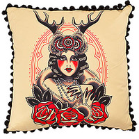 Lady of the Woods Satin Pillow