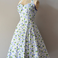 1950s dress / 50s halter dress / Carolyn Schnurer dress