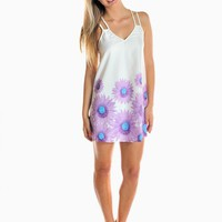 Purple Pastel Floral Print Dress with Double Strap Detail