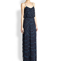 Sleeveless Beaded Blouson Gown