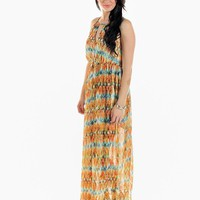 Orange Tribal Print Sleeveless Maxi Dress with Keyhole Detai