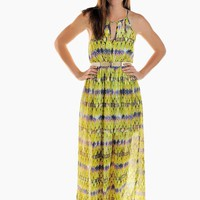 Green Tribal Print Sleeveless Maxi Dress with Keyhole Detail
