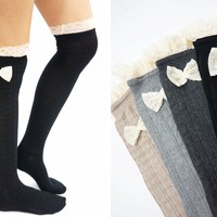 Lace Bow Side Knee High Lace Socks - Black