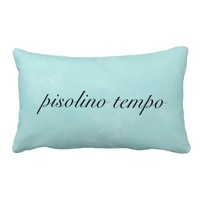 "Italian ""Nap Time"" Aqua Pillow"