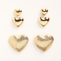HEART EARRINGS (3 PAIRS)