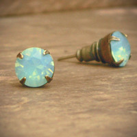 Mint Green Opal Rhinestone Stud Earrings, Brass, Iridescent
