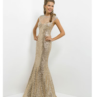 (PRE-ORDER) Blush 2014 Prom Dresses - Light Gold Sequin Cap Sleeve Prom Gown