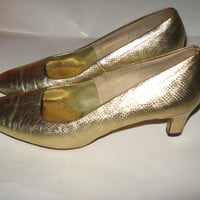 Vintage 1970s Shoes Gold Miss Wonderful High Heel PUMPS SZ 8