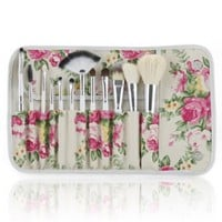 Frola Cosmetics Professional 12 Pcs Makeup Cosmetics Brushes Set Kits with Rose Pattern Case
