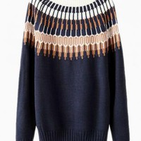 Blue Knit Patterned Sweater