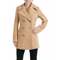 BGSD BGSD Women's Empire Seamed Wool Blend Pea Coat